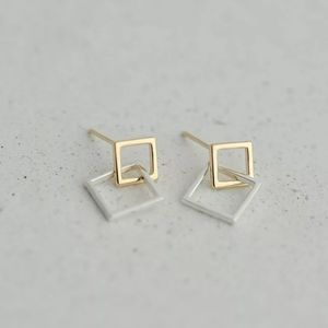 Real 925 Sterling Silver Double Square Geometry St